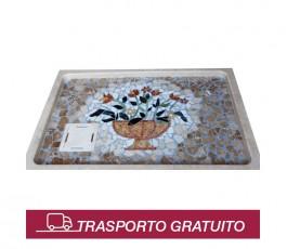 Piatto doccia in travertino con mosaico
