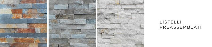 Listelli preassemblati in varie tipologie di pietra