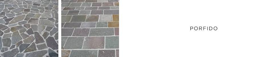 Porfido di vari formati pezzame cubetti piastrelle gradini